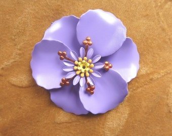 Vintage metal,enamel flower bead,lilac poppy,58m
