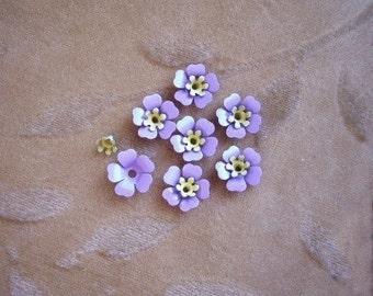 Vintage enamel metal flower bead sets,purple,yellow, Lot of 14 sets