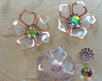 2 sets vintage copper metal flower beads, cabochon with Swarovski vitrail crystal. 48mm