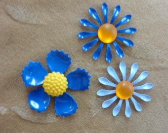 6 sets vintage enamel metal flower bead/cabochonss, blue, orange,yellow 26 - 30mm
