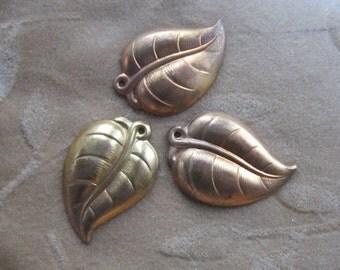 3 vintage brass metal leaf bead, leaves, pendant, approx. 44mm