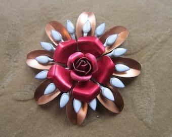 Vintage copper metal,enamel flower bead,red rose, white, 60mm