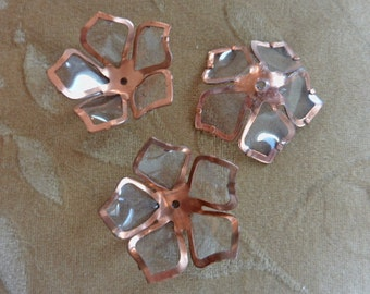8 vintage copper metal flower bead, approx. 32mm, clear lucite