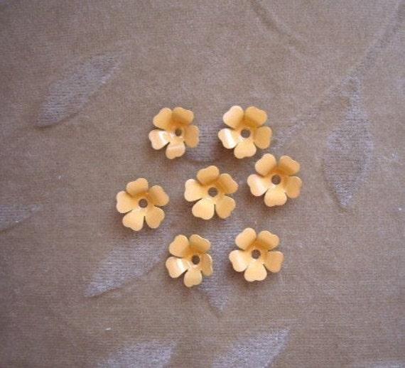 Vintage Metal Enamel Flower Beads Yellow/orange13m Lot Of