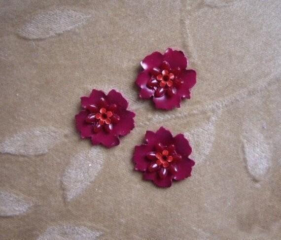 Vintage enamel flower bead sets,red, 22mm, Lot of 6 sets