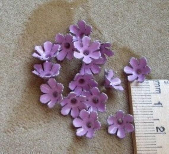 10 Vintage, purple lilac,enamel metal, flowers each approx. 12 - 13mm circa 1940's