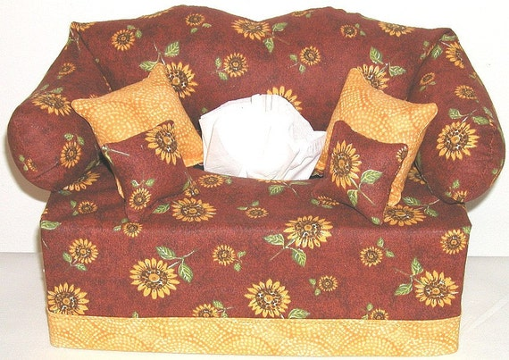 Tissue Box Couch Cover Sunflowers Pattern 1