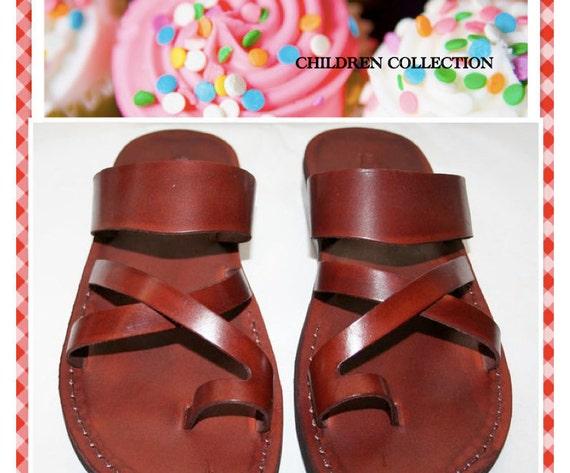 Children Leather Sandals - Bath Design - Unisex Children - Handmade Toddler Sandals, Flip Flop Sandals, Leather Sandals for Children