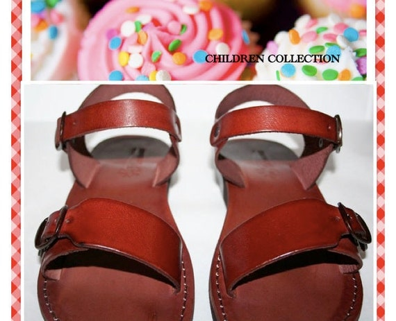 Children Leather Sandals for Boys & Girls - Eclipse Design - Handmade Sandals, Children Leather Flip Flops, Jesus Sandals, Toddler Sandals