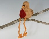 "Itty Bitty Toffee Robin - Hand Knit Organic Cotton Toy Bird, Sits 3"" Tall"