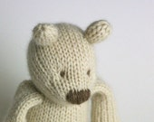 "Ravenwood Cashmere Bear - Cream - Hand Knit Sustainable Teddy Bear Toy, 9.5"" Tall"