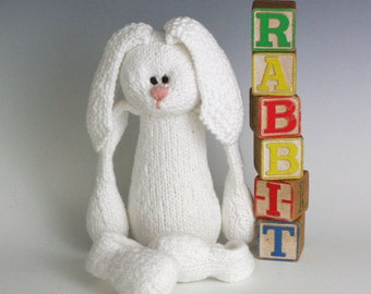 R is for Rabbit - PDF Knitting Pattern for a Stuffed Toy Bunny