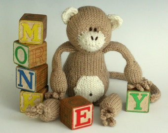 M is for Monkey - PDF Knitting Pattern for a Stuffed Toy Primate