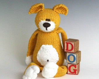D is for Dog - PDF Knitting Pattern for a Stuffed Toy Puppy
