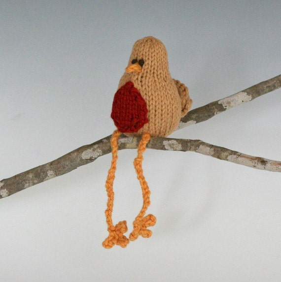 "Itty Bitty Toffee Robin - Hand Knit Organic Cotton Toy Bird, Sits 3"" Tall"