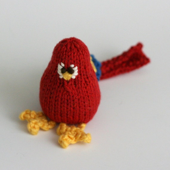 """Itty Bitty Candy Apple Parrot - Hand Knit Organic Cotton Bird Toy, Sits 3"""" Tall"""