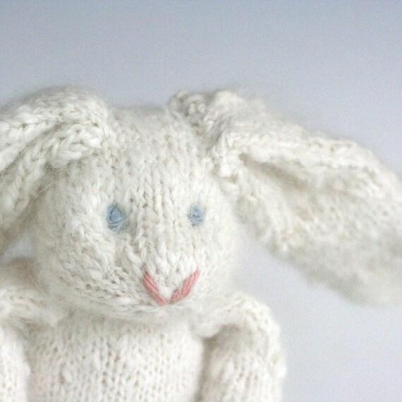 """Angora Rabbit - Whipped Cream - Hand Knit Toy Bunny, 10"""" tall"""