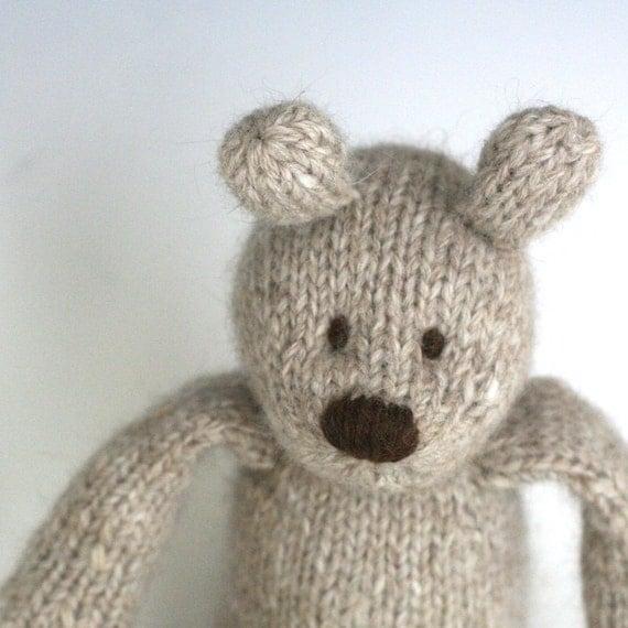 "Angora and Wool Bear - Oatmeal - Hand Knit Toy Bear, 13"" tall"