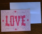 """Set of 3 """"all you need is LOVE is all you need"""" Valentine's Day Cards"""