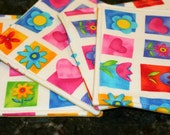 Quilted Coasters - Spring Time Flowers (set of 4)