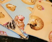 Quilted Cocktail Napkins - Sea Shells (set of 4)