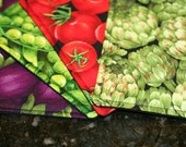 Quilted Coasters - Eat Your Veggies Again (set of 4)