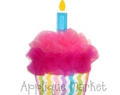 Machine Embroidery Design Applique Tulle Cupcake One Candle INSTANT DOWNLOAD