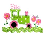 Machine Embroidery Design Applique Tractor with Flowers INSTANT DOWNLOAD