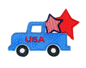 Machine Embroidery Design USA Truck INSTANT DOWNLOAD