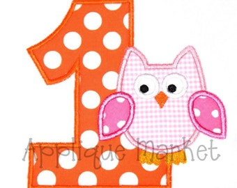 Machine Embroidery Design Applique First Birthday Owl INSTANT DOWNLOAD