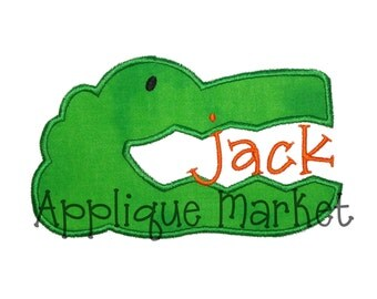 Machine Embroidery Design Applique Gator Head 5 Sizes INSTANT DOWNLOAD