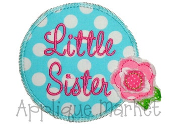 Machine Embroidery Design Applique Little Sister INSTANT DOWNLOAD