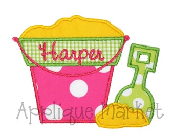 Machine Embroidery Design Applique Beach Bucket INSTANT DOWNLOAD