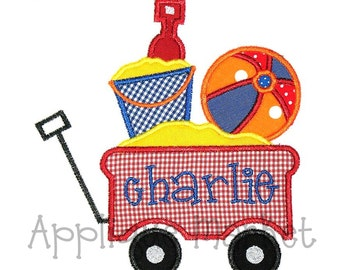 Machine Embroidery Design Applique Beach Wagon INSTANT DOWNLOAD