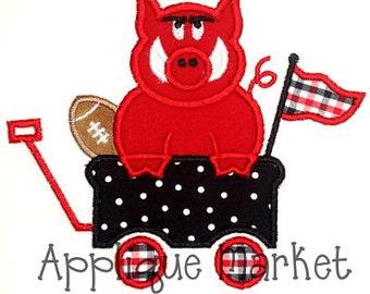Machine Embroidery Design Applique Hog Wagon INSTANT DOWNLOAD