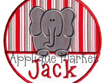 Machine Embroidery Design Applique Elephant Circle INSTANT DOWNLOAD