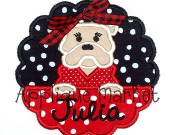 Machine Embroidery Design Applique Bulldog Scallop INSTANT DOWNLOAD
