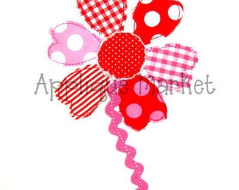 Machine Embroidery Design Raggy Flower Heart INSTANT DOWNLOAD