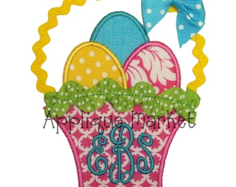 Machine Embroidery Design Applique Easter Basket with Trim INSTANT DOWNLOAD