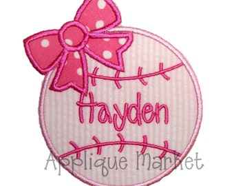Machine Embroidery Design Applique Baseball Bow INSTANT DOWNLOAD
