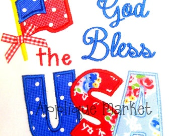 Machine Embroidery Design Applique God Bless USA INSTANT DOWNLOAD