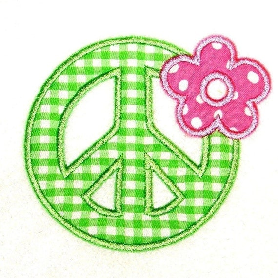 Machine Embroidery Design Applique Peace with Flower INSTANT DOWNLOAD