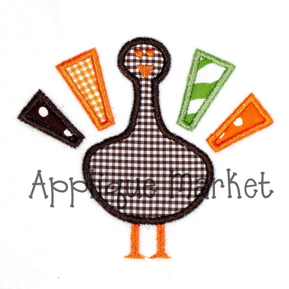 Machine embroidery design applique turkey instant download