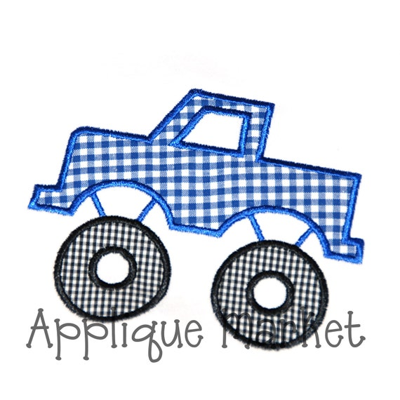 Machine embroidery design applique monster truck instant