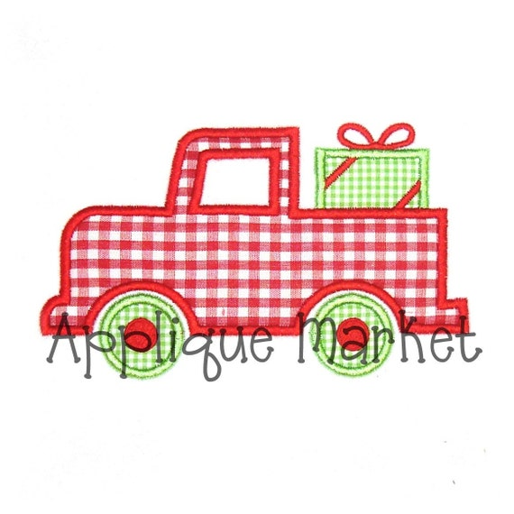Machine embroidery design applique truck with gift instant