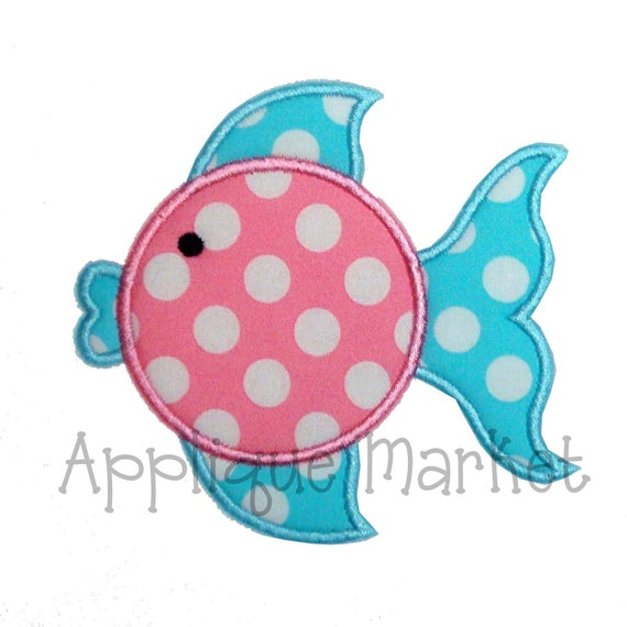 Machine Embroidery Design Applique Blowfish INSTANT DOWNLOAD