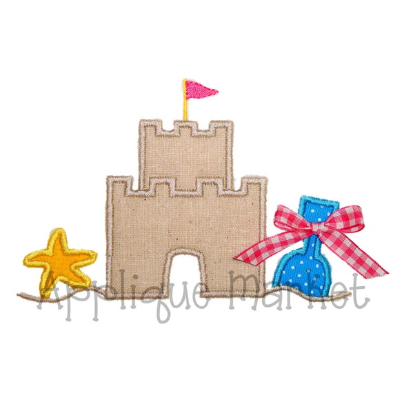 Machine Embroidery Design Applique Beach Sand Castle INSTANT DOWNLOAD