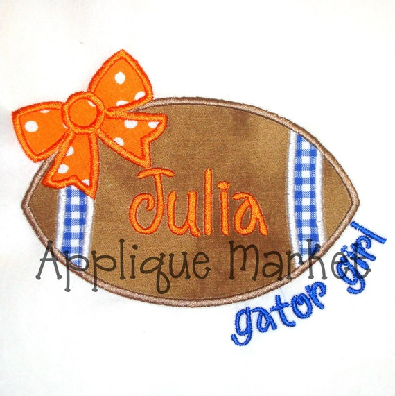 Machine Embroidery Design Applique Football Bow Gator Girl INSTANT DOWNLOAD
