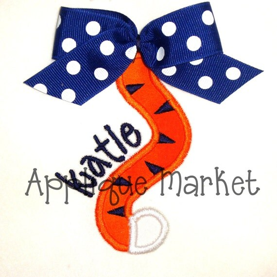 Machine Embroidery Design Applique Tiger Tail INSTANT DOWNLOAD