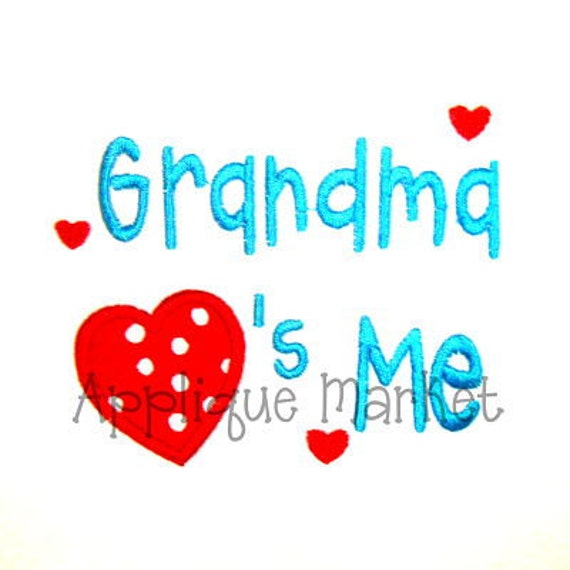 Machine Embroidery Design Grandma Hearts Me INSTANT DOWNLOAD